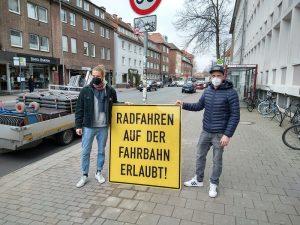 Seit Aufhebung der Radwegebenutzungspflicht können Radfahrende an der Wolbecker Straße sowohl den Radweg als auch die Straße benutzen. (Foto: Stadt Münster)