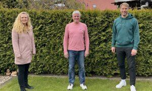 (v.l.:) Silke Brüx, Jens Lammers und Maximilian Schulze Niehues wurden beim SC Preußen Münster zu Präventionsbeauftragten geschult. Auf dem Foto fehlt Sabine Plieth. (Foto: SCP)