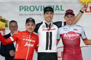 (v.l.) Max Walscheid siegt beim Münsterland Giro, John Degenkolb und Nils Politt belegen die Plätze zwei und drei. (Foto: Pressefoto)