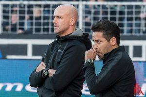 Cheftrainer Marco Antwerpen (li.) undCo-Trainer Kurtulus Öztürk verlassen den SC Preußen Münster zum Sommer. (Archivbild: Carsten Pöhler)