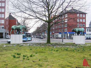 Im Kreisverkehr am Ludgeriplatz kam es am Morgen zu einem schweren Verkehrsunfall. (Archivbild: Lissel)