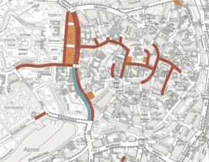Grafische Übersicht der Sperrungen im Innenstadtbereich (zur Erklärung: rot = Vollsperrung, blau = frei, orange = gesperrte Parkflächen). (Grafik: Katholikentag)