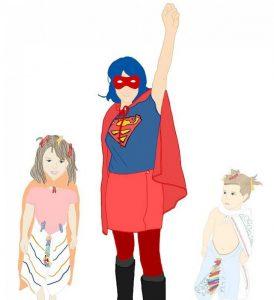 Supermutter mit Superkids im Homeoffice! (Grafik: E.M.)