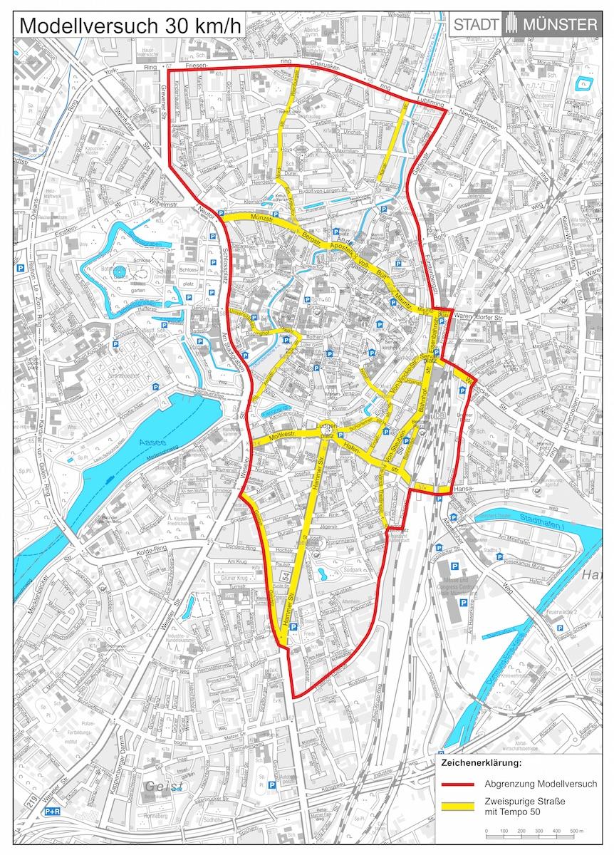 Innerhalb des markierten Bereichs könnte möglicherweise schon im nächsten Jahr ein Modellversuch mit Tempo 30 starten. (Grafik: Stadt Münster / Presseamt)