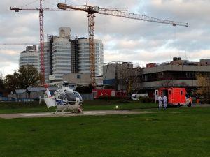 Am Dienstagnachmittag brachte ein Hubschrauber einen COVID-19-Patienten aus Belgien zur Behandlung ins UKM. (Foto: UKM)