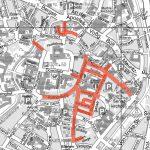 Die roten Markierungen zeigen die für den Weihnachtsmarkt gesperrten Straßen. (Grafik: Stadt Münster)