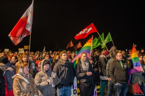 Trotz Kälte demonstrierten rund 300 Menschen friedlich gegen die AfD und Fremdenhass. (Foto: th)