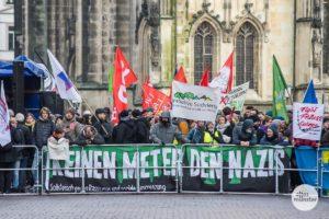 """Das Bündnis """"Keinen Meter den Nazis"""" hatte heute zur Demonstration auf dem Prinzipalmarkt gegen den Kreisparteitag der AfD aufgerufen. (Foto: Thomas Hölscher)"""