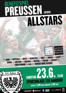 Etliche Altstars raffen sich zum Benefizspiel am 23. Juni beim TSV Handorf noch einmal auf um gegen ihre aktuellen Kollegen anzutreten. (Plakat: SC Preußen Münster)