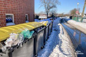 Am Montag soll die Müllabfuhr wieder anlaufen. Die Anwohner werden gebeten, die Tonnen an einem gut anzufahrenden Sammelpunkt bereitzustellen.(Foto: Thomas Hölscher)