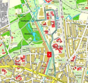 Der Bereich an der Kanalstraße (rot markiert) wird durch Zentrum Nord (grün markiert) umgeleitet. (Grafik: Stadt Münster)