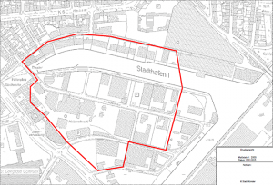 Am 20. März wird der gekennzeichnete Bereich evakuiert. (Grafik: Stadt Münster / Presseamt)