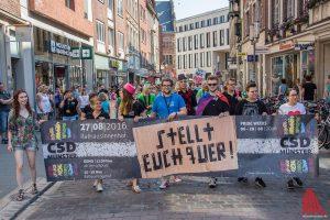 Sie marschierten voran beim Umzug zum Christopher Street Day in Münster. (Foto: th)