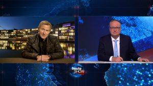 """Höhepunkt des nächsten """"Wilsberg""""-Falls: der Auftritt von Overbeck (Roland Jankowsky) als """"Ovinator"""" in Oliver Welkes """"heute-show"""". (Foto: ZDF/ Thomas Kost, Jonas Plöger, Uwe Schäfer)"""