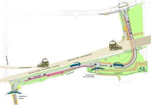 DerVerlauf des neuen Teilstücks der Heroldstraße. (Grafik: www.elemente.ms)