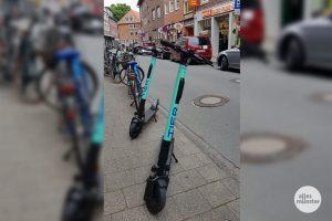 Die E-Scooter gehören auch in Münster seit einigen Wochen ins Stadtbild. (Archivbild: am)
