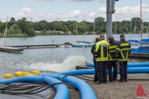 Die Hochleistungspumpe am Hansa Segelclub wurde vorsorglich wieder in Betrieb genommen. (Foto: Thomas Hölscher)