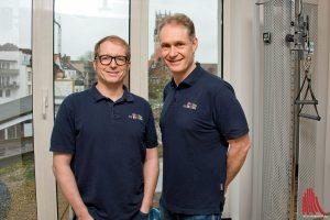 """Dr. Gerrit Borgmann (li.) und Dr. Ralph Schomaker leiten das münstersche """"Zentrum für Sportmedizin"""". (Foto: mb)"""