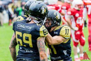 Freude über einen Touchdown bei den Spielern der Blackhawsks. (Foto: cf)