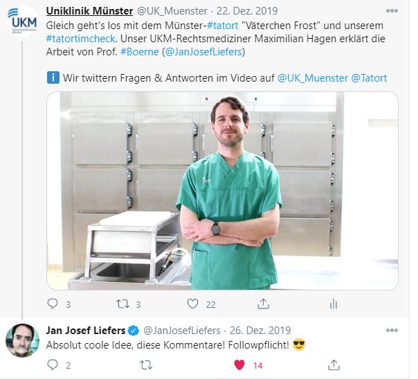 UKM-Rechtsmediziner Maximilian Hagen macht den Tatort Fakten-Check. (Foto: UKM)