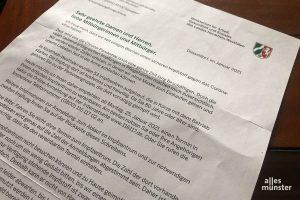 Rund 17.000 Berechtigte haben in Münster diesen Brief erhalten, der sie dazu einlädt, Impftermine zu vereinbaren. (Foto: Michael Bührke)
