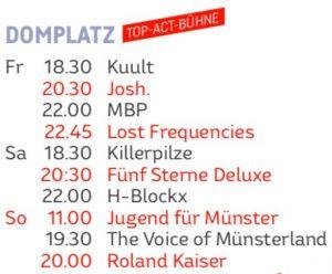 Zeitplan für die Domplatz-Konzerte.