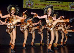 Sportliche Perfektion der närrischen Art: ihr neues Bühnenprogramm - bei dem es auch mal etwas wilder zugehen darf - präsentieren die Formationen der Narrenzunft Aasee bei ihrer Tanzgruppenvorstellung. (Foto: Wolfram Linke)