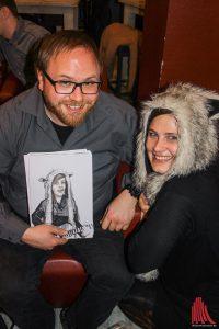 Livezeichner Kurt hat bei der Show Lise Lotte gemalt, die für den Club Charlotte wirbt. (Foto: bk)