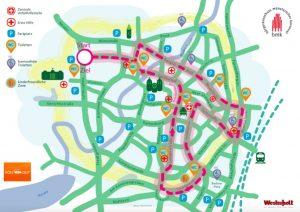 Der närrische Lindwurm folgt am Rosenmontag der hier rot eingezeichneten Linie durch die Stadt. (Grafik: BMK)