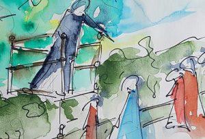 "Eine Skizze von Lebedews Skulptur ""Speakers Corner"" (Bild: Igor Lebedew)"