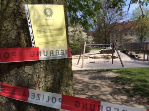 Der Spielplatz an der Südstraße bleibt vorerst gesperrt. (Foto: Polizei MS)