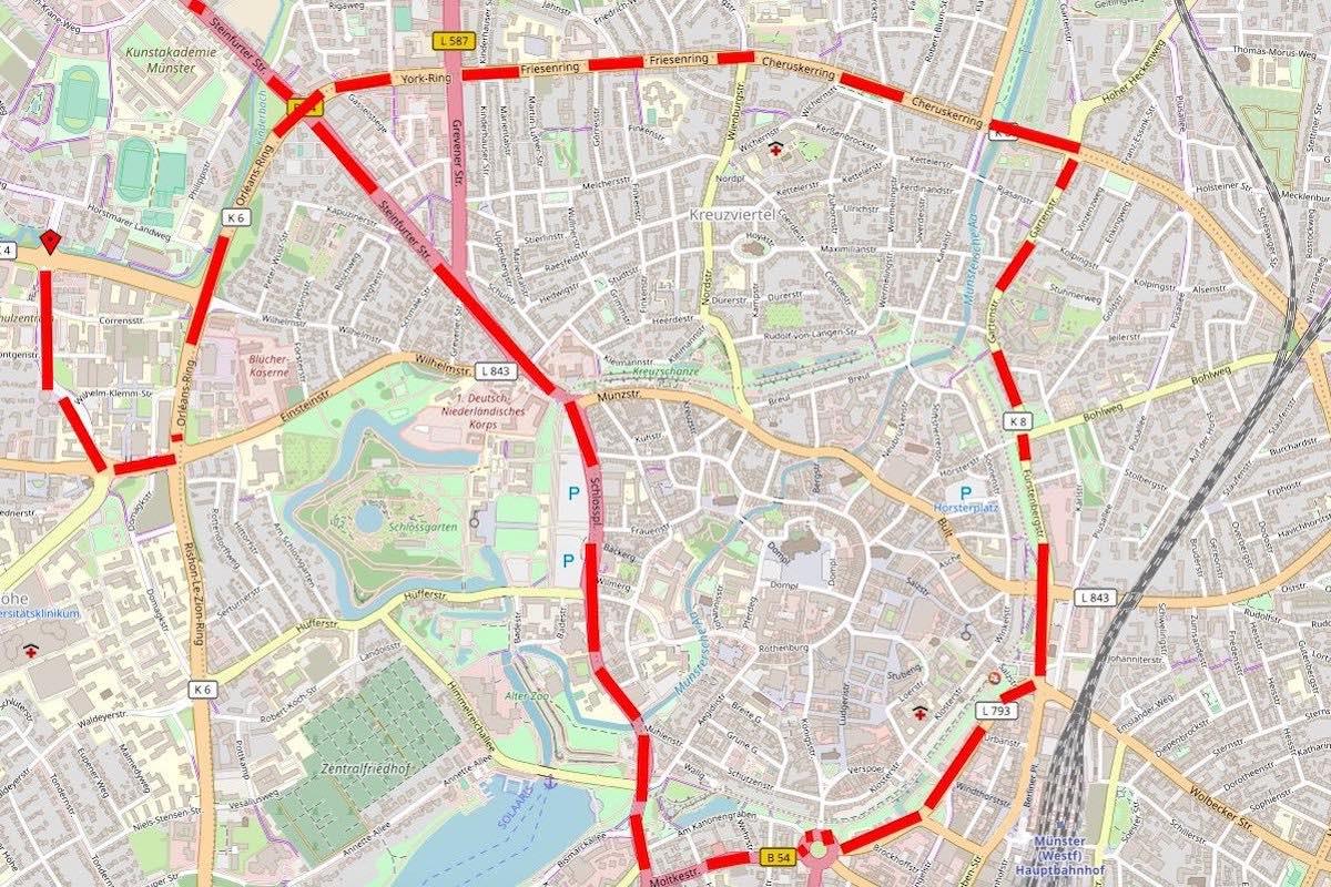 """Der Verlauf des Traktor-Konvois in Münster. (Grafik: ALLES MÜNSTER / Daten von <a href=""""http://www.openstreetmap.org/"""">OpenStreetMap</a> - Veröffentlicht unter <a href=""""http://opendatacommons.org/licenses/odbl/"""">ODbL</a>)"""