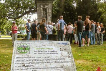 Zu den umstrittenen Kriegerdenkmälern in Münster zählt auch das Traindenkmal in der Nähe des Ludgerikreisels. Archivbild: Ralf Clausen)