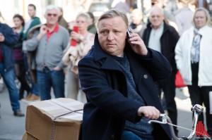 Axel Prahl bei Dreharbeiten auf dem Prinzipalmarkt. (Foto: th)