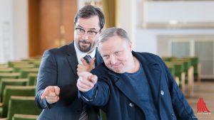 Geschafft! Jan Josef Liefers (li.) und Axel Prahl freuen sich über den neuen Zuschauerrekord des Münster Tatorts. (Foto: wf / Weber)
