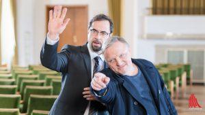Am Set mit Jan Josef Liefers (li.) und Axel Prahl. (Foto: wf / Weber)