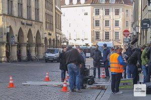 Dreharbeiten für den neuen Münster-Tatort auf dem Prinzipalmarkt. (Foto: Michael Bührke)
