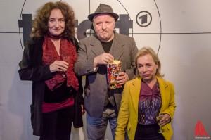 Premierengäste in Münster: (v.l.) Mechthild Großmann, Axel Prahl und Christine Urspruch. (Foto: th)