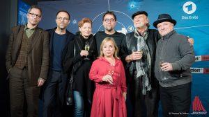 Sie alle kamen zur Tatort-Premiere nach Münster (v.l.): Drehbuchautor Thorsten Wettcke, WDR-Tatort-Koordinator Prof. Gebhard Henke und die Schauspieler Gertie Honeck, Jan Josef Liefers, ChrisTine Urspruch, Claus D. Clausnitzer und Axel Prahl. (Foto: wf / Weber)