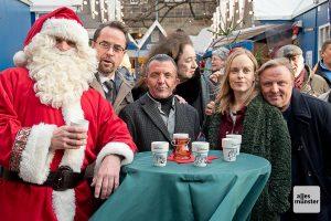 Bei den Dreharbeiten für den neuen Münster-Tatort auf dem Weihnachtsmarkt. (Foto: Michael Bührke)