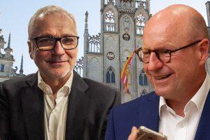Treten bei der OB-Stichwahl gegeneinander an (v.l.): Peter Todeskino und Markus Lewe. (Bildmontage: Hölscher / Fotos: Ralf Clausen / Stephan Günther)